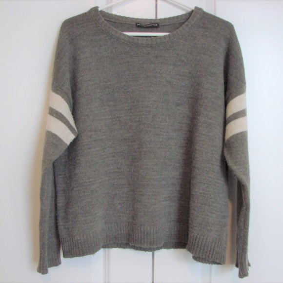 Brandy Melville Brown Cream Stripe Oversiz Sweater